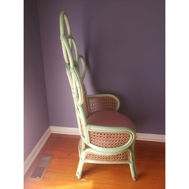 Boho Chic 1980s Vintage Rattan Peacock Throne Chairs- A Pair For Sale - Image 3 of 13
