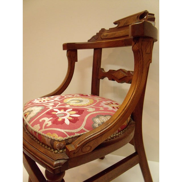 Aesthetic Movement Eastlake Manuel Canovas Fabric Upholstered Mahogany Desk Chair For Sale - Image 3 of 8