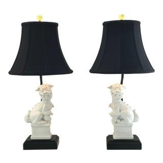 Custom Made Foo Dog Lamps With Jade Finials and Black Shades - a Pair For Sale