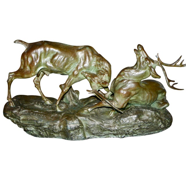 Early 20th Century Bronze Fighting Stags Sculpture by Thomas Francois Cartier For Sale In Philadelphia - Image 6 of 6