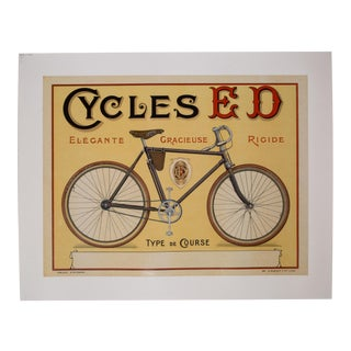 "Vintage French Advertising Poster ""Cycles Ed"" C.1910 For Sale"