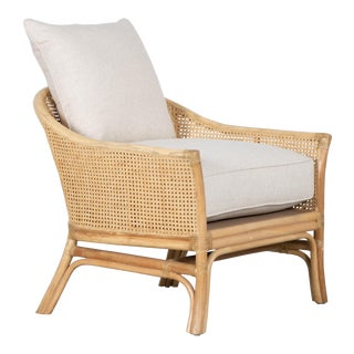 Rustic David Francis Rattan and Cane Calistoga Lounge Chair For Sale