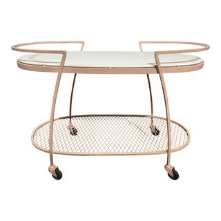 1950s Mid-Century Modern Russell Woodard Iron Two Tier Oval Bar Cart For Sale