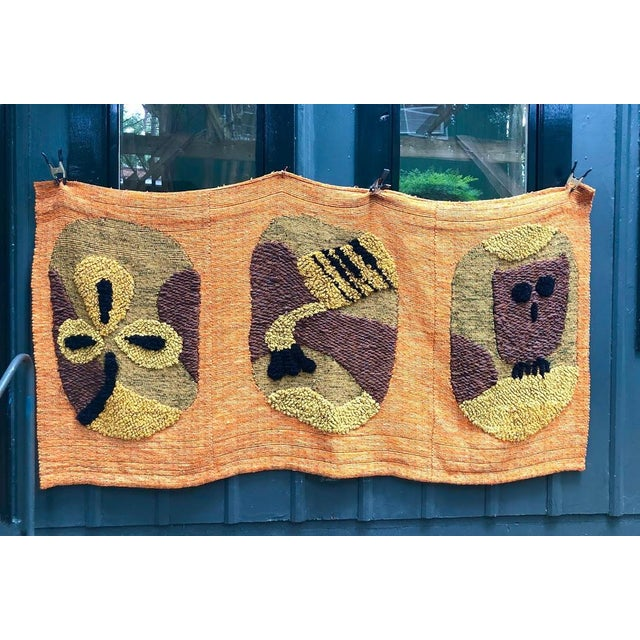 1950s Giant Hand-Loomed Polynesian Abstract Tapestry For Sale - Image 9 of 9