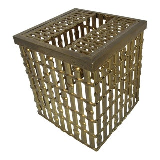 Hollywood Regency Faux Bamboo Tissue Holder For Sale