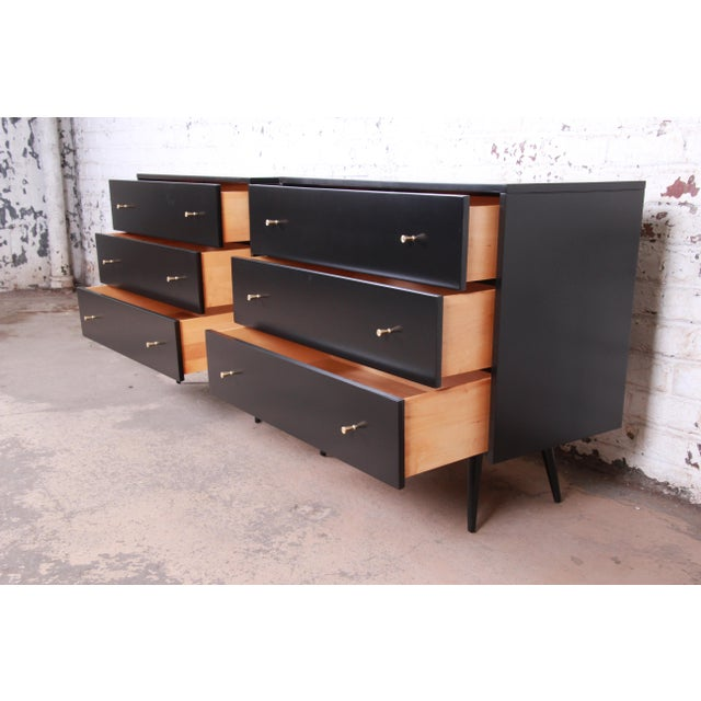Paul McCobb Planner Group Black Lacquered Three Drawer Bachelor Chests or Large Nightstands, Newly Restored For Sale In South Bend - Image 6 of 13