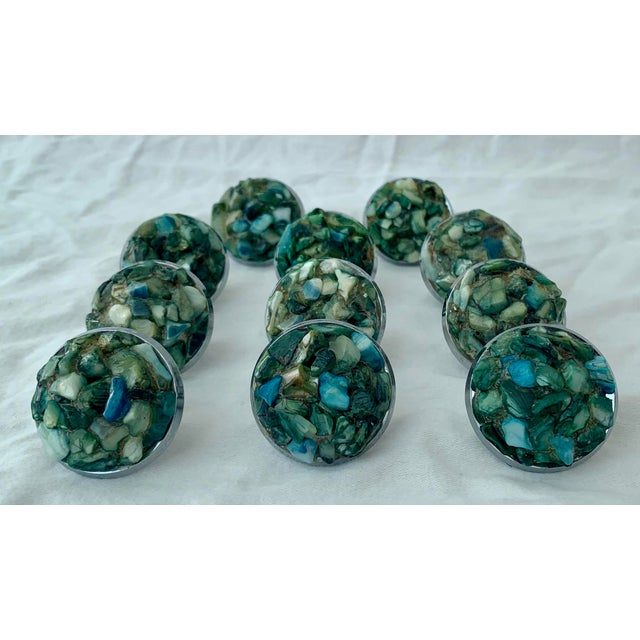 1960s Mid-Century Chrome and Shell Cabinet Knobs - Set of 11 For Sale In Palm Springs - Image 6 of 6