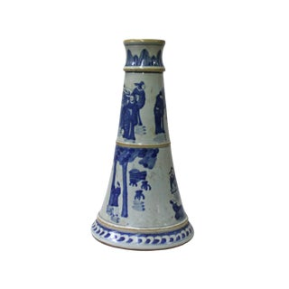 Chinese Blue & White Porcelain Round Scenery Graphic Candle Holder For Sale