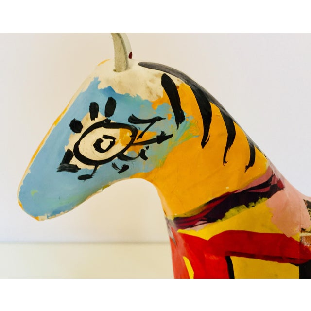 Red Papier Mâché Sculpture of a Horse in Polychrome Arabic Writing For Sale - Image 8 of 12