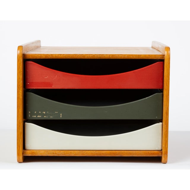Danish Modern Oak Desk Organizer With Painted Drawers by Børge Mogensen for Karl Andersson For Sale - Image 3 of 12