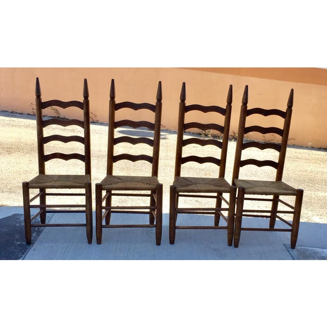 Primitive Lodge Ladder Back Chairs- Set of 4 - Image 5 of 5