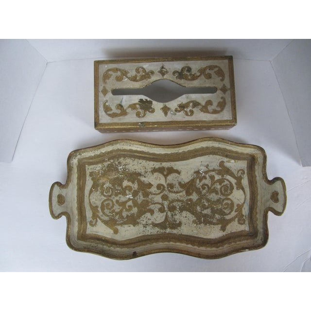 Vintage gold and white Florentine tissue box holder and Florentine tray with handles. Great for your vanity or bath. Some...