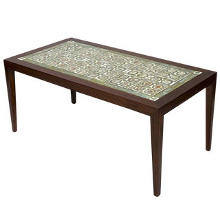 Rosewood Coffee Table with Royal Copenhagen Tiles For Sale