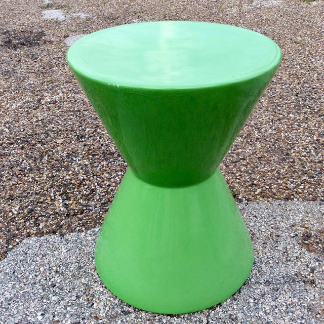 Mid century green molded fiberglass modernist corseted side table. We always accept reasonable offers.