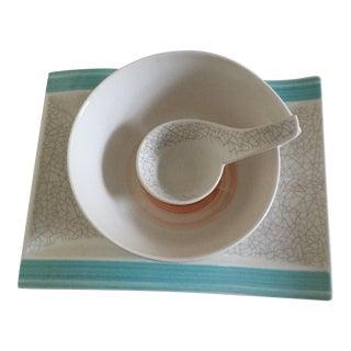 Villeroy & Boch Amarah Premium Porcelain Rectangular Plate + Round Bowl + Dip Bowl - 3 Pieces