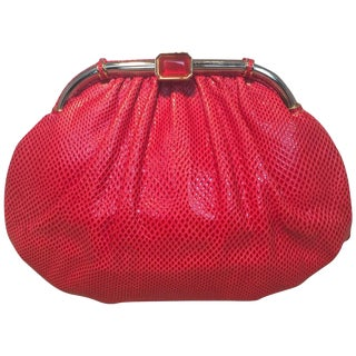 Judith Leiber Vintage Red Lizard Leather Clutch For Sale