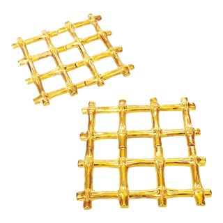 Vintage Brass Bamboo Trivets - A Pair