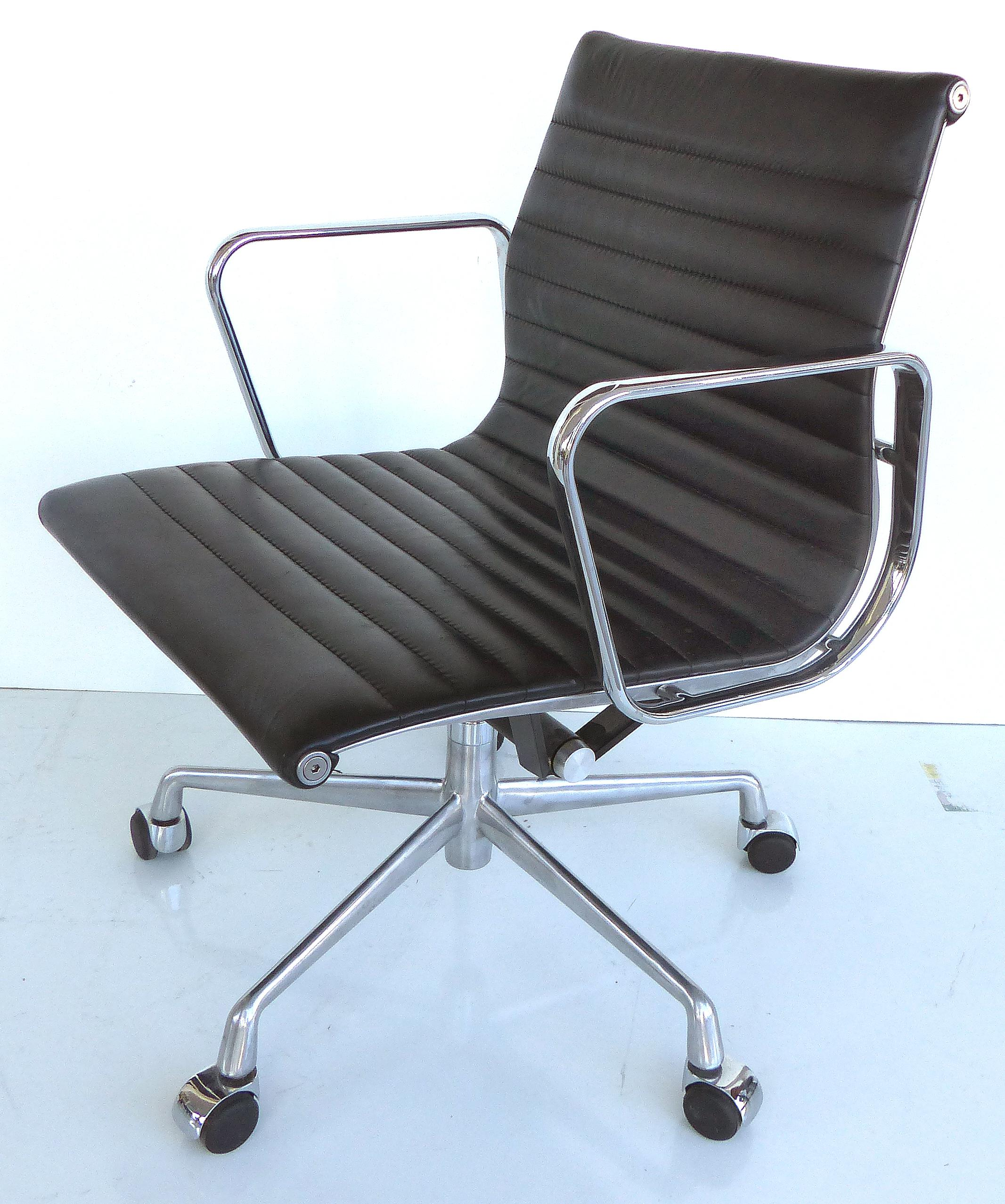 An Eames For Herman Miller Aluminum Group Desk Chair With A Channeled  Leather Upholstery. Arm