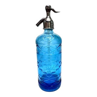 1920s Industrial Blue Glass Seltzer For Sale