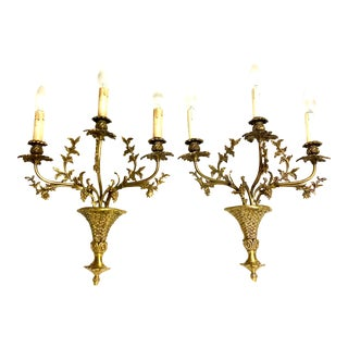 Antique French Ormolu Bronze Wall Sconces - a Pair For Sale