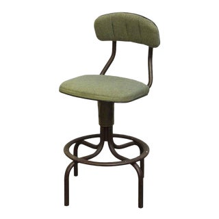 Western Electric Green Upholstered Stool For Sale