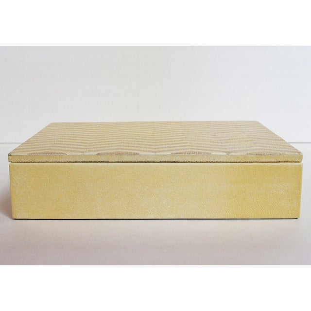 Fabio Ltd Ivory and Brown Shagreen Box by Fabio Ltd For Sale - Image 4 of 7