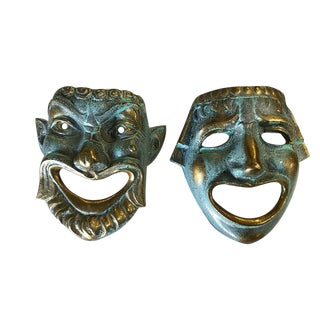 Casted Bronze Roman Style Theater Mask Wall Art, Pair For Sale