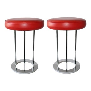 1970s Chromed Steel Stools - a Pair For Sale