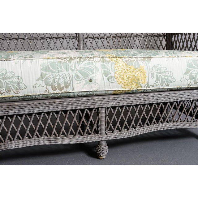 Gray Vintage High Back Wicker Loveseat/Settee in Grey For Sale - Image 8 of 12