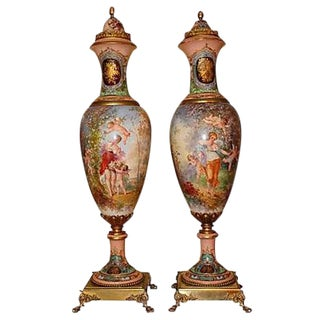 19th Century French Grand Palace Urns - Pair For Sale