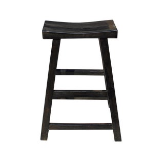 Simple Distressed Semi Gloss Black Tall Wood Stool Bar Stool