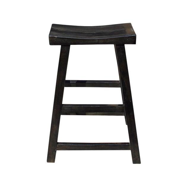 Simple Distressed Semi Gloss Black Tall Wood Stool Bar Stool For Sale