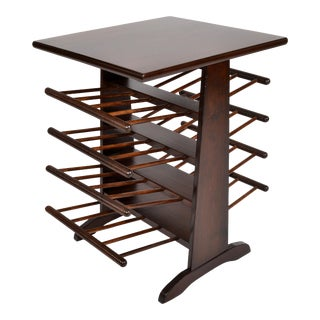 American Walnut & Turned Wood Magazine Rack, Stand, Magazine Table From 1950s For Sale