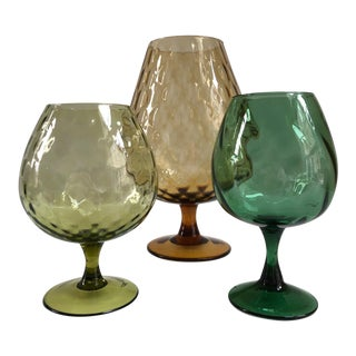 Mid-Century Modern Italian Retro Optic Art Glass Vase Collection - Set of 3 For Sale