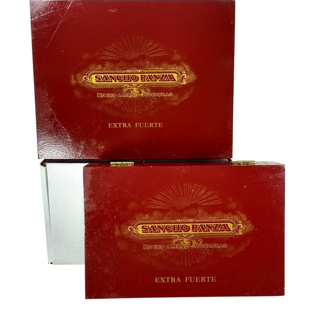 Red & Gold Sancho Panza Wood Cigar Boxes - Pair For Sale