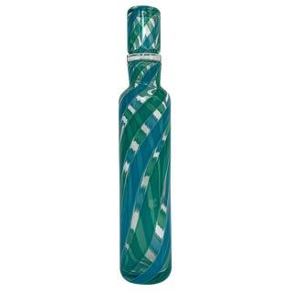 Fratelli Toso Italian Murano Blue Green Stripe Glass Decanter For Sale
