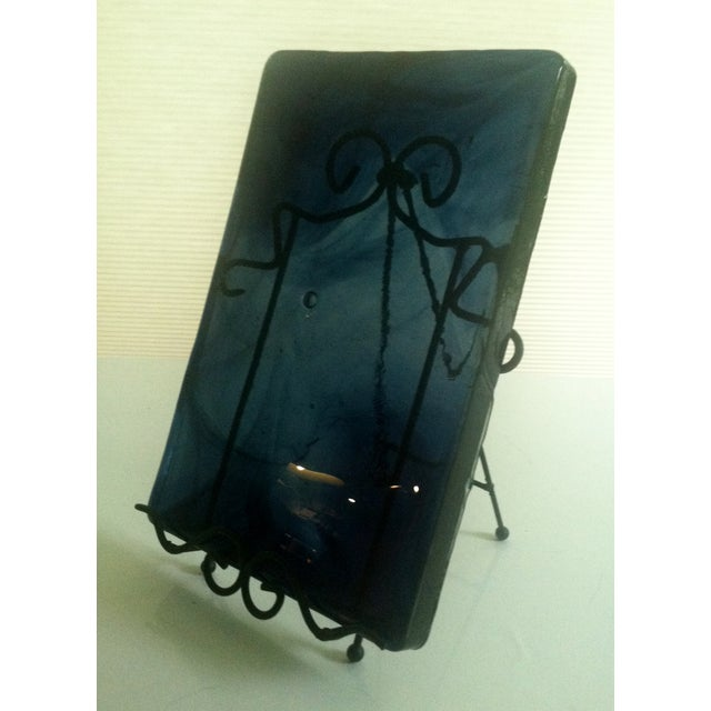 Blenko Blue Art Glass Panel - Image 3 of 7