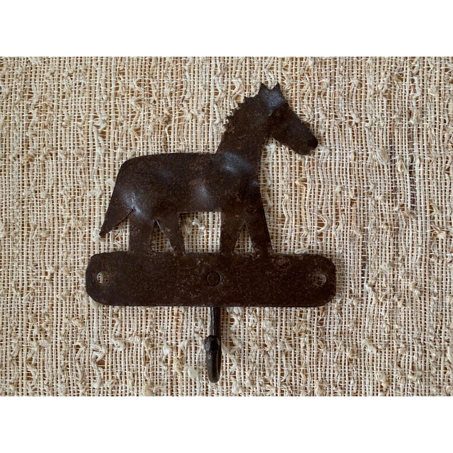 Rustic 1980s Metal Horse Hooks - a Pair For Sale - Image 3 of 5