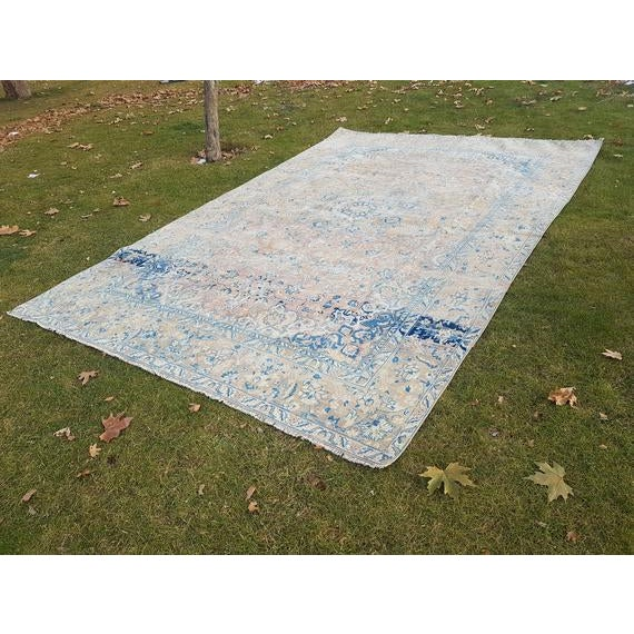 Distressed Turkish Oushak Rug- 9′ × 13′5″ For Sale - Image 11 of 11