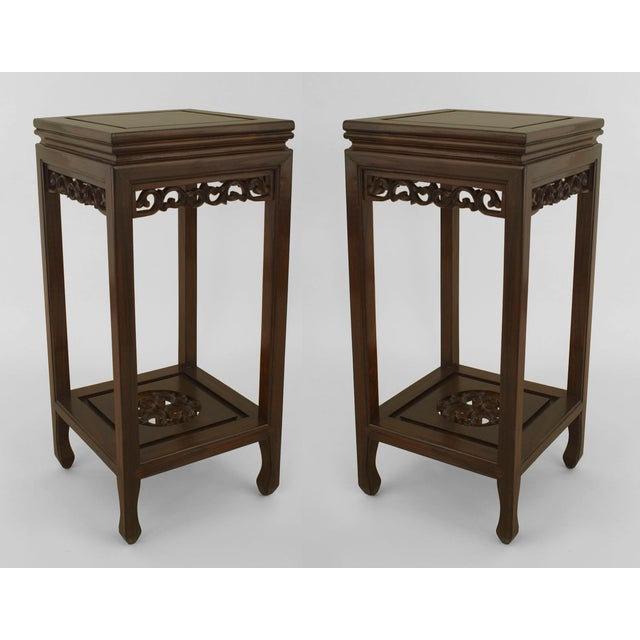 Asian Chinese Rosewood Pedestals- a Pair For Sale In New York - Image 6 of 6