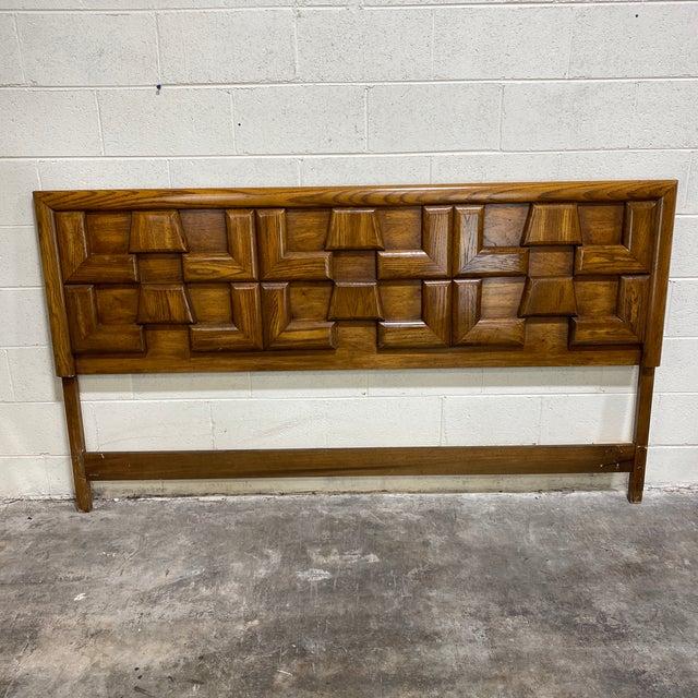 Mid Century Walnut Brutalist Style King Head Board For Sale - Image 12 of 12