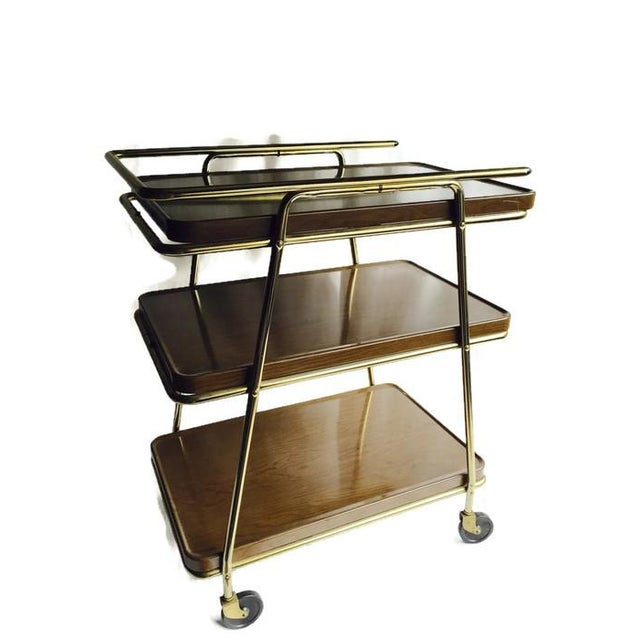 Mid-Century Atomic Age Three-Tiered Bar Cart - Image 4 of 9