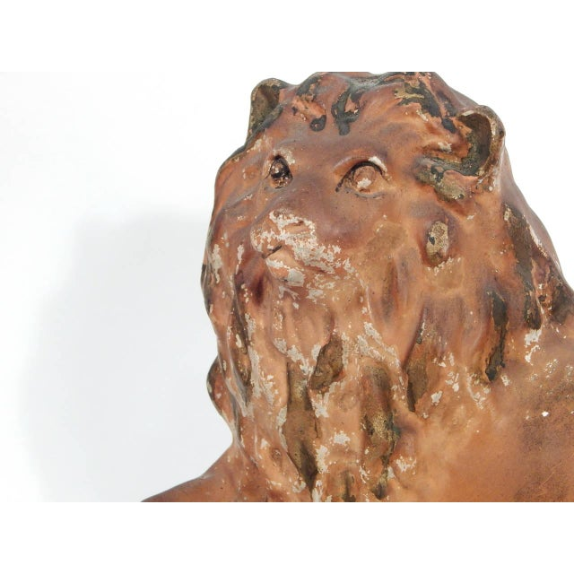 Chalk Pair of Painted Chalkware Lions For Sale - Image 7 of 10