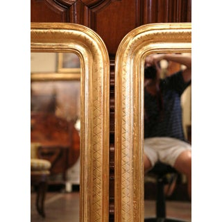 Pair of Midcentury French Louis Philippe Giltwood Mirrors With Engraved X Decor Preview
