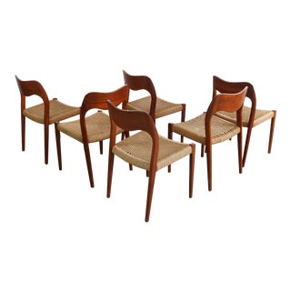 Niels Møller #71 Teak Dining Chairs W/ Paper Cord Seats - a Set of 6, Denmark For Sale
