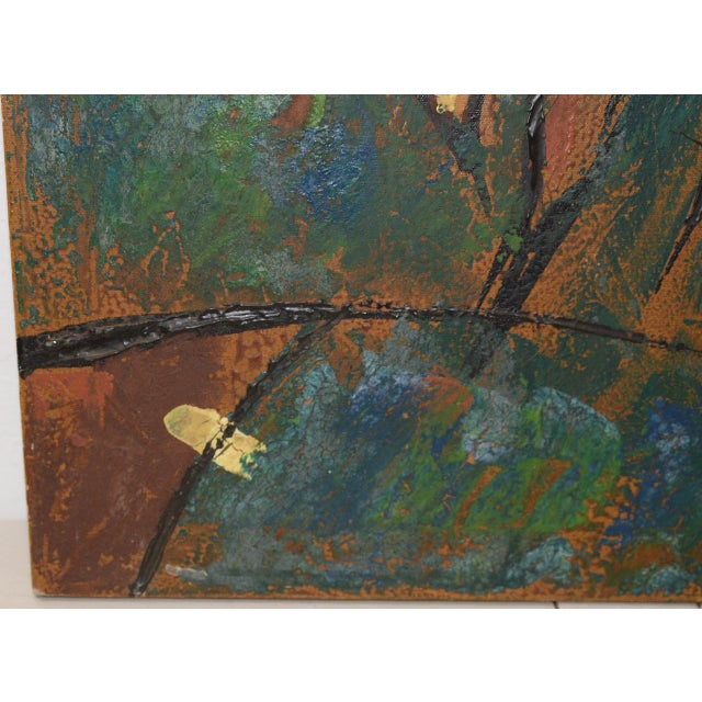"""1970s Vintage Impasto """"Polo Match"""" Abstract Oil Painting C.1970s For Sale - Image 5 of 11"""
