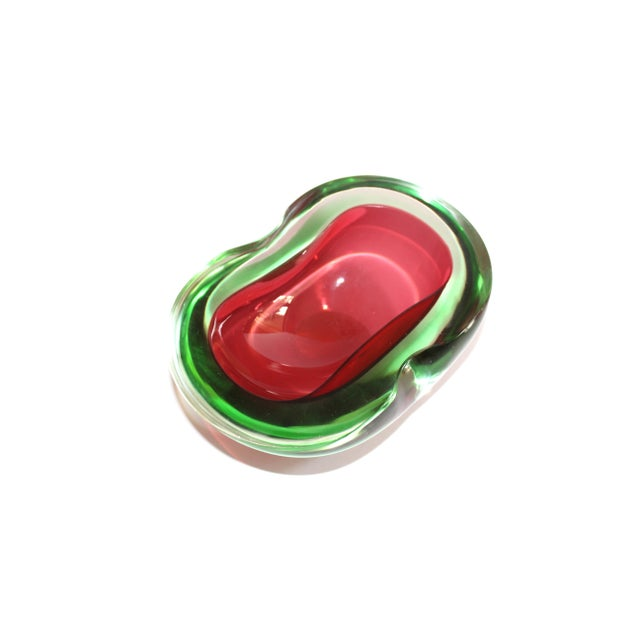 Murano Glass Red and Green Sommerso Ashtray & Bowl, 1960's For Sale - Image 9 of 13