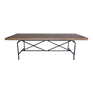 Custom Reclaimed Wood Table with Iron Base For Sale