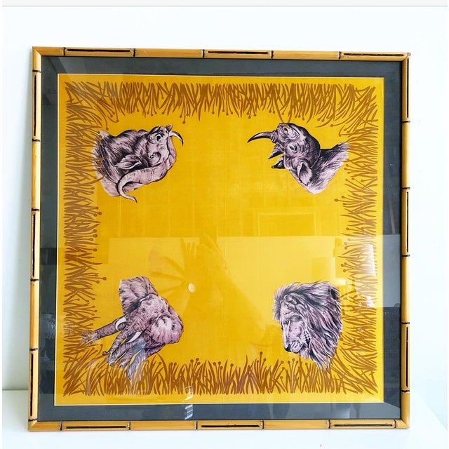 Vintage Framed Silk Safari Style Scarf in Wooden Carved Faux Bamboo Frame For Sale - Image 10 of 10