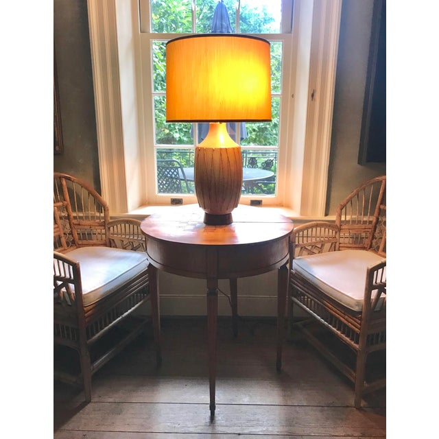 A handsome pottery lamp by esteemed California potter David Cressey, (1916-2013). The form is smart and classic with a...